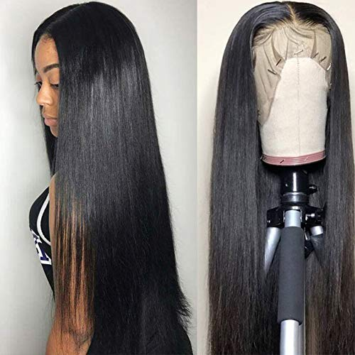 Subella Hair 9A Lace Front Wigs Human Hair with Baby Hair 150% Density Brazilian Straight Human Hair Wigs for Black Women Natural Color (18inch)