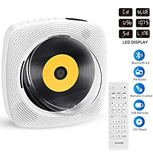 Portable CD Player with Bluetooth, Wall Mountable CD Player Music Home Mini Boombox with Remote Control Built-in HiFi Speakers, Headphone Jack AUX Input Output(White)