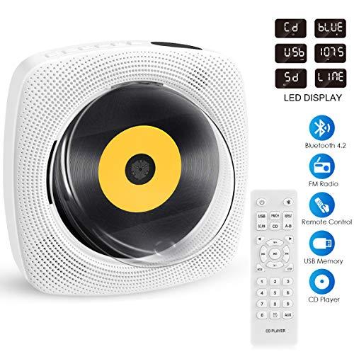 Lettore CD Bluetooth, FOCHEA Lettore Musicale CD Montabile A Parete E Supporto Da Scrivania Portatile, Incorporato Con Altoparlante HiFi, Radio FM Con Telecomando, Jack Per Cuffie Da 3,5 Mm