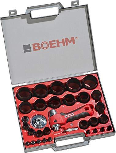 BOEHM JBL250PA Locheisensatz 2-50mm inkl. Halter, Aufnahmescheibe & federnder Zentrierspitze im Kunststoffkoffer