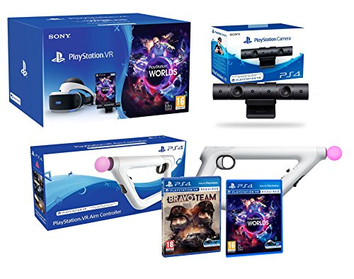 PlayStation VR + Bravo Team + Aim-Controller PS4 + PS4 Camera V2 + VR Worlds - VR Pack