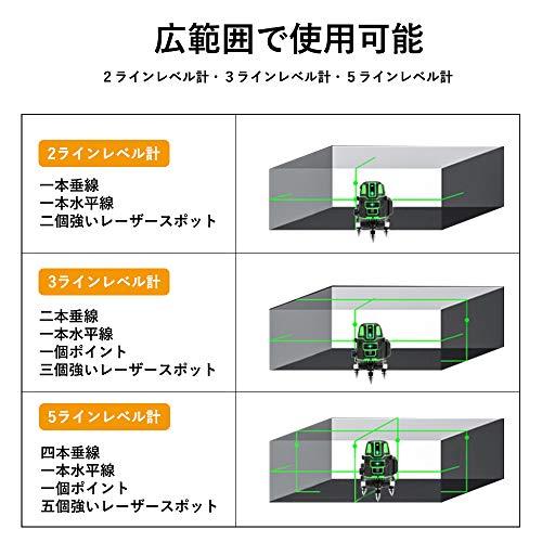 ONESTEP5ライングリーンレーザー墨出し器5線6点回転レーザー線4方向大矩照射自動補正機能高輝度レーザーレーザー水平器自動補正照射レーザー日本語説明書【バッテリー2個付き!!】(本体+バッテリー2個)