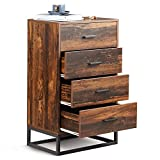 WLIVE 4 Drawer Chest, Tall Dresser, Wood Storage Organizer Unit with Sturdy Metal Frame for Bedroom, Living Room or Home Office, Rustic Oak