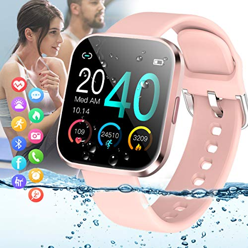 Amokeoo Smart Watch,Fitness Watch Activity Tracker with Heart Rate Blood Pressure Monitor IP67 Waterproof Bluetooth Smartwatch Touch Screen Sports Tracker Watch for Android iOS Phones Men Women Kids
