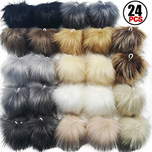 TIHOOD 24PCS Faux Fur Pom Pom Balls DIY Faux Fox Fur Fluffy Pom Pom with Elastic Loop for Hats Keychains Scarves Gloves Bags Accessories(12 Colors, 2 Pcs for Each Color)
