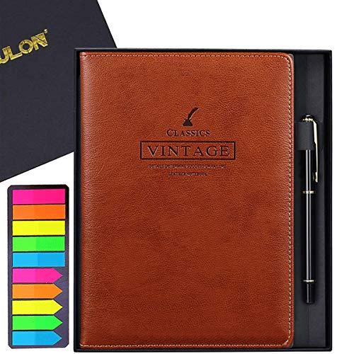 VIEWLON Leder Notizbuch A5, mit Stift/Lesezeichen, 100 GSM Dickes Papier/200 Linierte Seiten, Hardcover Notizbuch in Geschenkbox, Ideale Geschenkauswahl (Vintage, Brown Red)