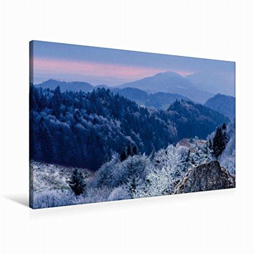 Premium Textil-Leinwand 90 x 60 cm Quer-Format Winterstimmung in den Jura, Leinwanddruck von Sandra Schänzer