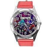 Taport - Reloj de piel para fanáticos de Fortnite, color rojo