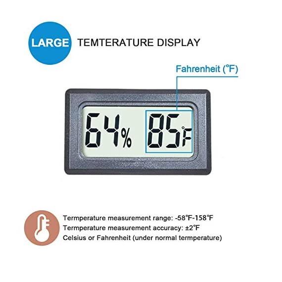 Veanic 4-pack mini digital thermometer hygrometer meters gauge indoor large number display temperature fahrenheit… 4 mini digital humidity thermometer allows you to easily know the environment temperature and humidity around you 2in1 meter with built-in probe; digital electronic thermometer and hygrometer for measuring temperature and humidity for indoor use fahrenheit (℉) display, this thermometer displays temperature in fahrenheit