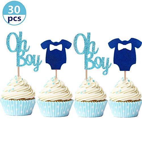 JeVenis Set mit 30 glitzernden Oh Boy Cupcake-Aufsätzen, blau Baby-Overall, Babyparty, Cupcake-Topper für Jungen, Geburtstag, Party-Dekoration, Babyparty-Dekoration