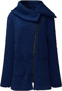 FSSE Women's Pure Color Plus Size Fleece Lined Zip Up Sweatshirt Coat Jacket