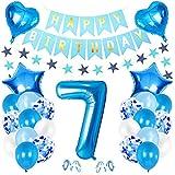 7er Cumpleaños Bebe Globos Decoracion, Cumpleaños 7 Año Bebe Niño, Foil Globo Número 7 Azul, Globos Numeros 7 Decoracion, Globos de Confeti de Latex Boy Ballon Party Cumpleaños 7 Año