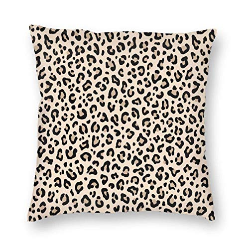 Estampado de leopardo blanco y negro en color crudo Tiny Scale Collection Leopard Spots Punk Rock Estampado de animales Funda de almohada decorativa para el hogar Funda de cojín para regalo Sofá para
