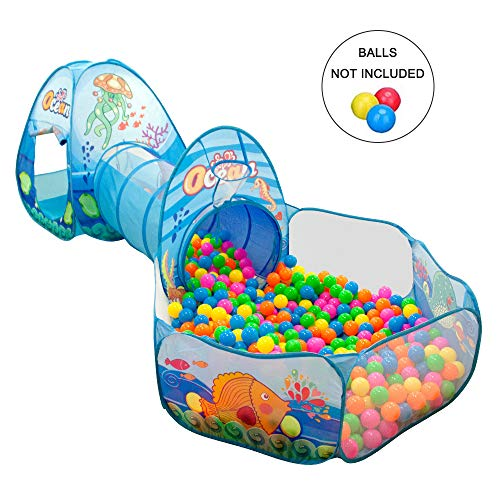 Qnotici Carpas y túneles para niños Ball Ball, Piscina para niños Ocean Ball para niños, niñas y niños pequeños: casa de Juegos Interior/Exterior
