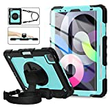 iPad Air 4th Generation Case, iPad Pro 11 Case 2020 & 2018, [Shockproof] ambison Full Body Protective Case with 9H Tempered Glass, Pencil Holder, Rotatable Kickstand & Hand Strap (Sky Blue & Black)
