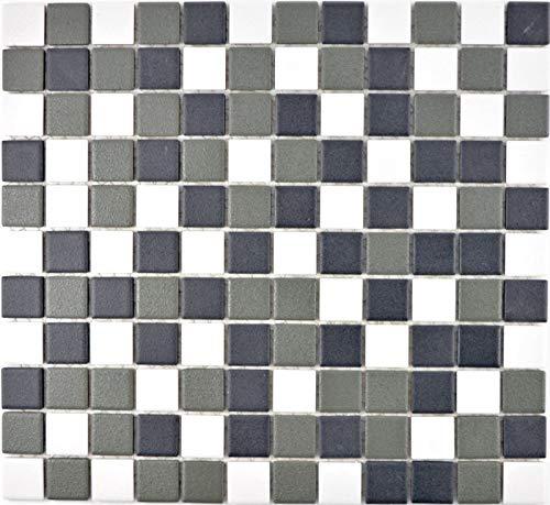 Mozaïektegel keramiek zwart wit antraciet mat douchebak MOS18-2213-R10