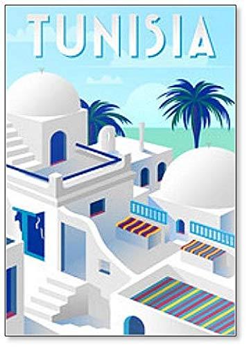 Calamita da frigorifero Old Town in Tunisia con case tradizionali e palme sullo sfondo