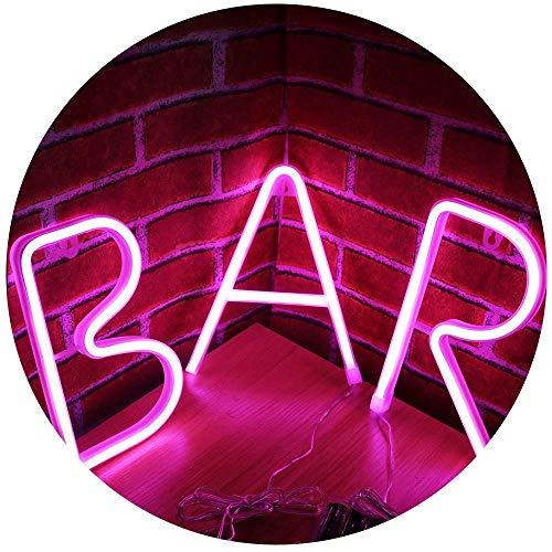 Neon Bar Light Sign LED Neon Carta Luz de la noche Luz de la carpa Palabra Decoración de la pared para Beer Bar Pub Suministros de fiesta recreativos