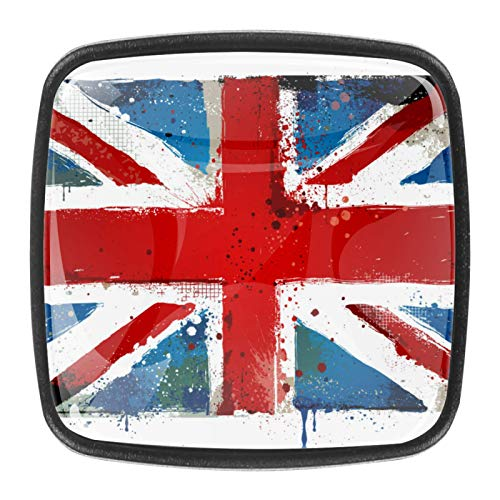 4 pomos de cristal para gabinete de 1.18 pulgadas, tiradores de cajones de cocina, tiradores de armario con tornillos para armarios de cocina, aparadores, armarios, armarios, bandera de Reino Unido