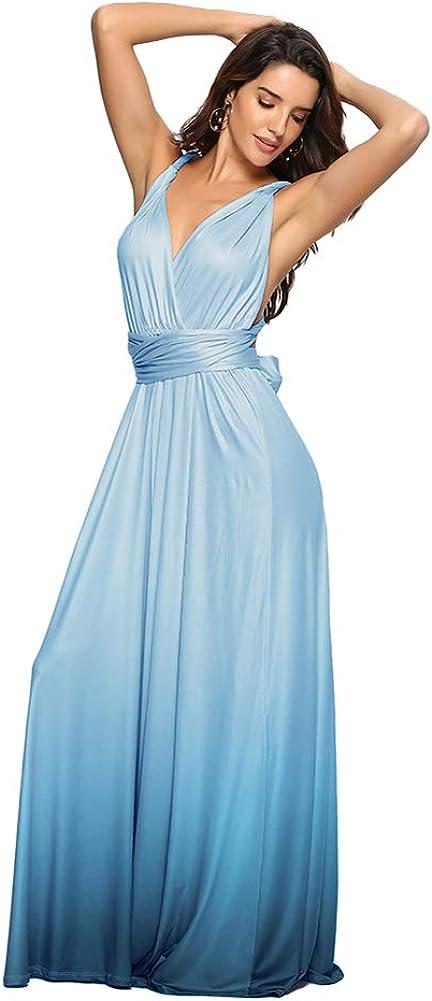 Women Evening Long Maxi Gradient Convertible Transfo Dress Ombre Max 86% free OFF