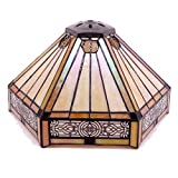 Tiffany Lamp Shade Replacement W12H6 Inch Yellow Stained Glass Mission Hexagon Style For Table Lamp Ceiling Fixture Pendant Light S011 WERFACTORY Parent Lover Kid Bedroom Study Desk Bedside Nightstand