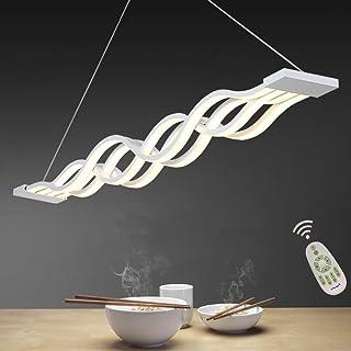 Lámpara Colgante LED Comedor Luz Pendiente Oficina Iluminación De Suspensión Moderno Diseño Regulable con mando distancia Lámpara De Techo Salon Cocina Estudio Araña Altura Ajustable, Largo 100cm