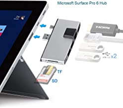 Microsoft Surface Pro 6 Hub, Surface Pro USB 3.0 Data Adapter with SD/TF Card Reader, 2 USB 3.0 Ports, 4K HDMI and LAN Connector |Unique Design and Perfect Match Microsoft Surface Pro 6/Pro 5