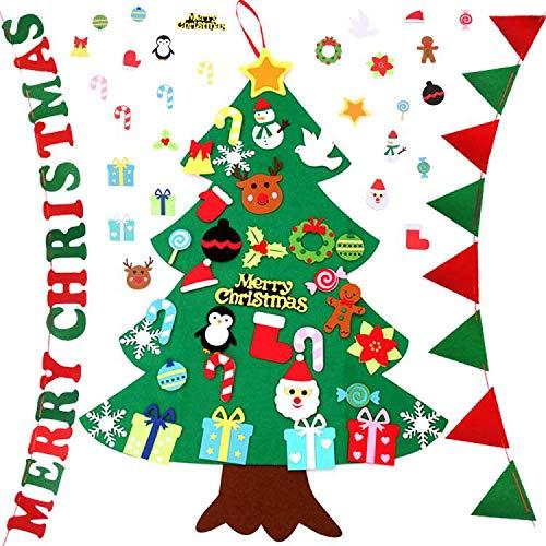 Shanke DIY Árbol de Navidad Artificial de Fieltro con Adornos 33 pcs con 2 Banderas para Niños Desmontables año Pared de Puerta Decoración Colgante de Navidad