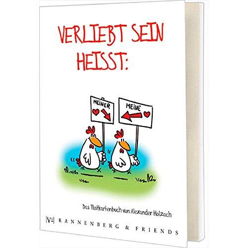 Postkartenbuch Verliebt sein heißt..., Postkarte Ansichtskarte, Liebe Hühner Hahn Huhn