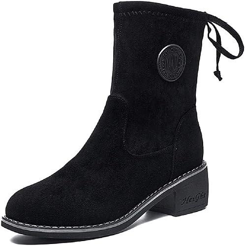 Gaslinyuan Chaussure mi-Mollet à Lacets en Cuir pour Femmes Femmes Femmes (Couleuré   Noir, Taille   EU 37) 736