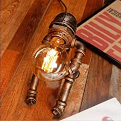 Vintage Table Lamp Retro Industrial Iron Water Pipes Robot Table lamp Steampunk Desktop Light(Not Included Bulb) #4