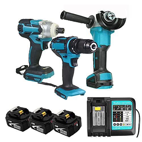 Cordless Kit Combo Kit Power Tool Sets with Combi Drill Impact Driver Angle Grinder,3 Pack 5.5Ah Batteries and Fast Charger Compatible for Makita