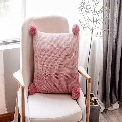 Farbverlauf Baumwolle Twist gestrickte Kissen weiche Montage Auto Hüftpolster nach Hause Must-Have Pink 45 * 45 (kernlos)