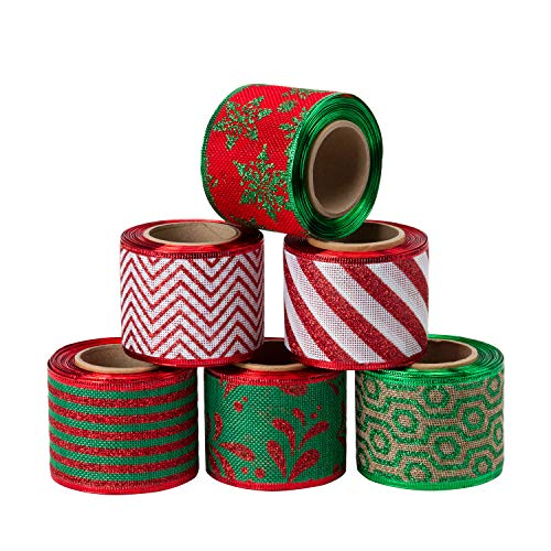 LaRibbons Christmas Holiday Burlap Ribbon - 6 Rolls Assorted Glitter Burlap Ribbon with Wired Edge for Craft Projects, DIY, Decoration, Gift Wrap - 2.5 inch x 5 Yard Each Roll