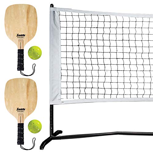 Franklin Sports Half Court Size Pickleball Net by Franklin Pickleball - Includes 10ft Net, (2) Paddles, and (2) X-40 USA Pickleball Approved Pickleballs