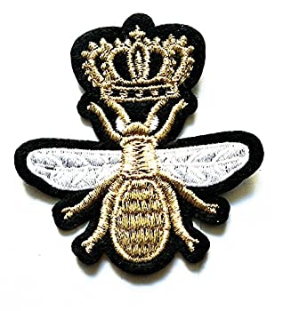 Nipitshop Patches Golden Crown BEE Insect Bugs Cute Kids Bumble Bee Shape Iron On Embroidered Applique Patch for Clothes Backpacks T-Shirt Jeans Skirt Vests Scarf Hat Bag