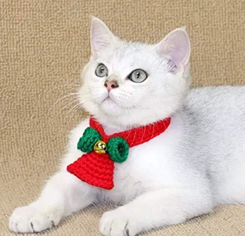 Bufanda de navidad para mascotas Collar de perro Bufanda triangular con doble capa de copo de nieve Adornos navideños para perros y gatos (Tamaño general, rojo)