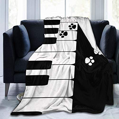 Super Soft Blanket Sleeps Comfortably, Used in Bedroom Sofa Chair Living Room (50x40cm) Black White Piano