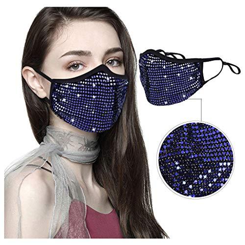 1 Stück Mundschutz mit Motiv Baumwolle, Pailletten Staub mundschutz Atmungsaktive mundbedeckung Stoff Unisex Wiederverwendbare Strass Mundschutz für Erwachsene (Blau)