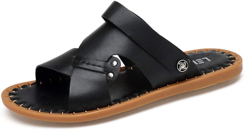 Hilotu Men's Beach Sandals Summer Slip-on Flat Sandals Lightweight Open Toe Dual-purpose Slippers