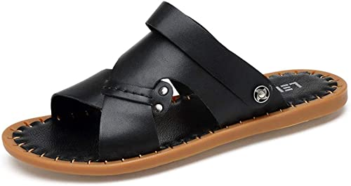 Sandales Sandales d'été pour Hommes Pantoufles antidérapantes Sandales en Cuir Chaussures de Sport en Plein air Chaussures d'intérieur pour Femmes Sandales (Couleur   Noir, Taille   40 EU)