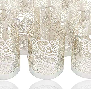 LoveInUSA 48PCS Silver Reflection Tea Light Votive Laser Cut Decorative Wraps Paper Candle Holder for LED Battery Tealight...