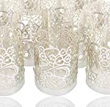 LoveInUSA 48PCS Silver Reflection Tea Light Votive Laser Cut Decorative Wraps Paper Candle Holder for LED Battery Tealight Candles for Valentine's Day Birthday Wedding Decoration