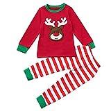 Fossen Disfraz Navidad Niño Pijama Conjunto de Ropa Fossen 2-7 años Niños Niñas Patrón Elk Camisetas + Pantalones (4 años, Rojo)