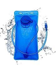 ハイドレーション 給水袋 洗いやすい 水分補給 チューブ付き 食品級TPU素材 携帯式ボトル アウトドア ランニング 防災水袋 スポーツ 登山 ハイキング サイクリング 折りたたみ水筒 超軽量で携帯便利 ブルー 2L サイズ:35×17.5cm