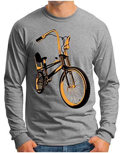 OM3® - Bonanza-II - Langarm T-Shirt | Herren | Vintage Kult Fahrrad 50 Jahre Jubiläum Bicycle | Grau Meliert, M