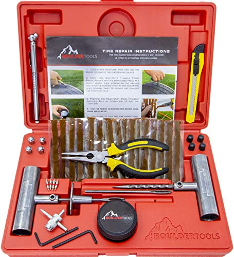 Boulder Tools – Heavy Duty Tire Repair Kit for Car, Truck, RV, SUV, ATV, Motorcycle, Tractor, Trailer. Flat Tire…