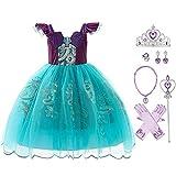 OBEEII Disfraz de Sirena para niños, Disfraz de Ariel para niñas con Escamas de pez, Cola, Fiesta, Halloween, Carnaval, Disfraces de Navidad, cumpleaños 7-8 Años