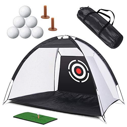 Rete per allenamento da golf, reti per colpire da golf, rete per allenamento da golf con fasci di bersagli,tappetino per erba,tee da golf,6 palline da golf e custodia per il per uso interno all'aperto