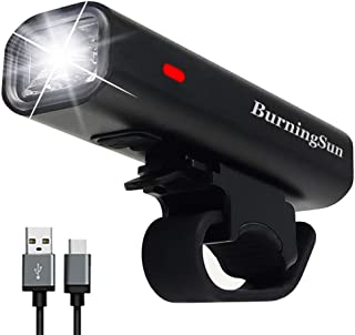 BurningSun USB Bike Light Bike Headlight Runtime 8+ Hours 400 Lumen Super Bright Bicycle Front Light Waterproof 4 Mode USB Rechargeable Cycling Riding Lamp LED Flashlight Fits All Bicycles, Road, MTB